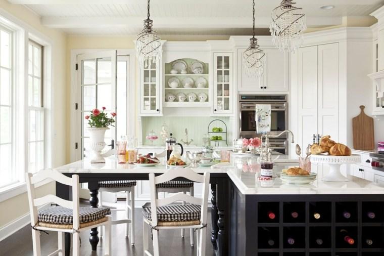 fotos de cocinas rústicas-diseno-isla-opciones