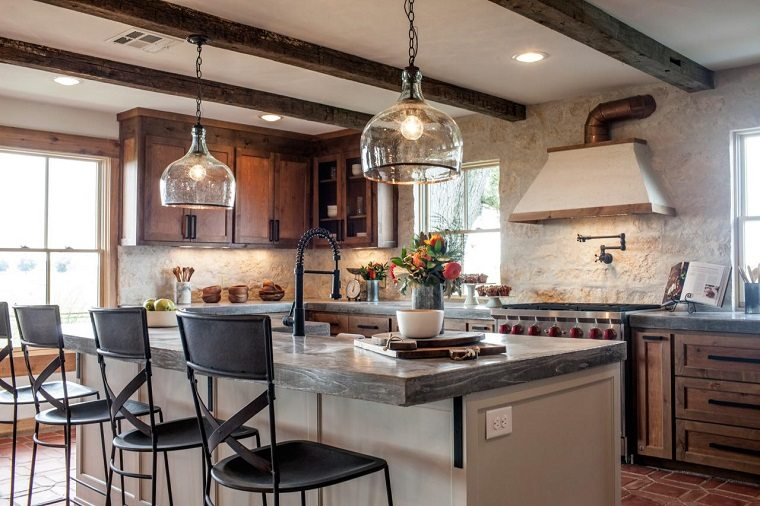 fotos de cocinas rústicas-diseno-madera-natural