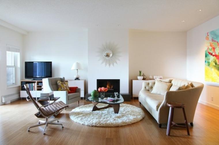 bonitos diseños de salones con chimeneas contemporáneas