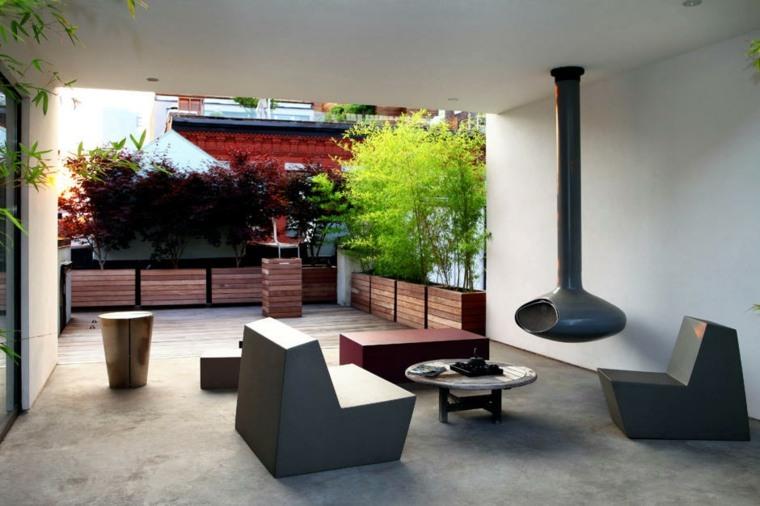 diseño de sala de estar con chimenea moderna