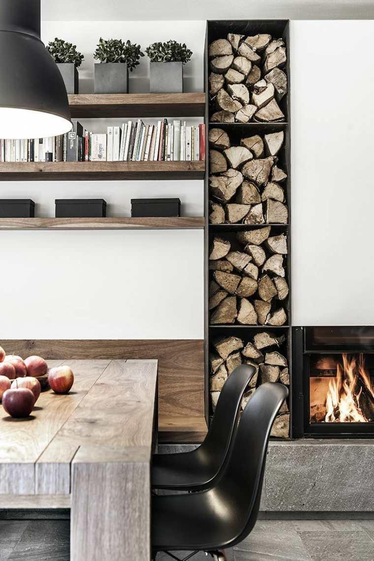diseños de salones con chimeneas de leña
