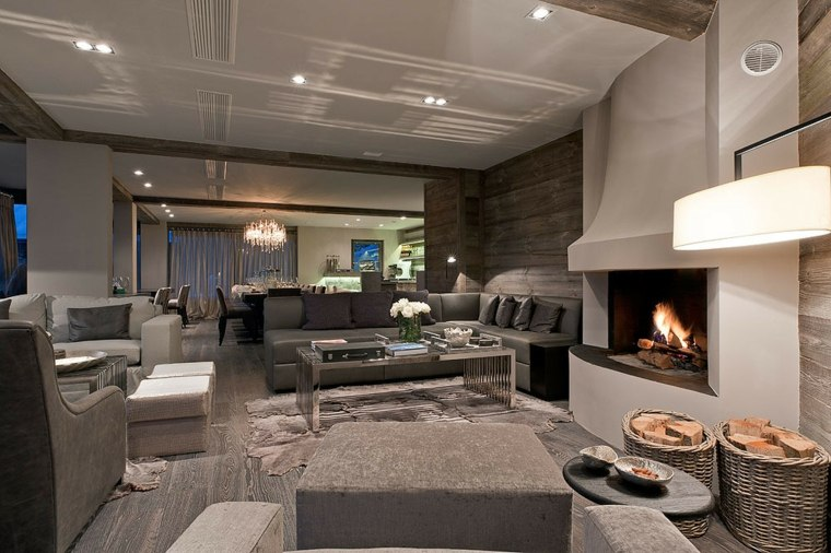 diseño de interior con chimenea