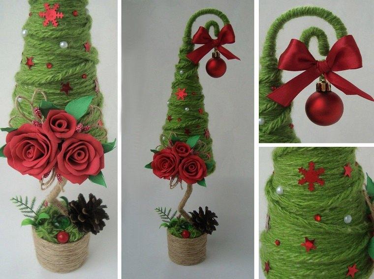 manualidades navidad-arbol-pequeno-lana