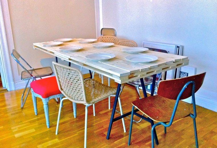 Mesas con palets originales y muy fáciles de hacer -