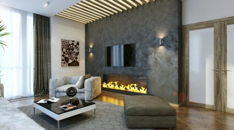 diseños de interiores con chimenea