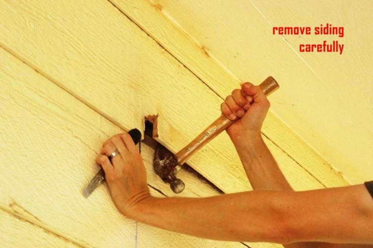 separando maderas exteriores martillo
