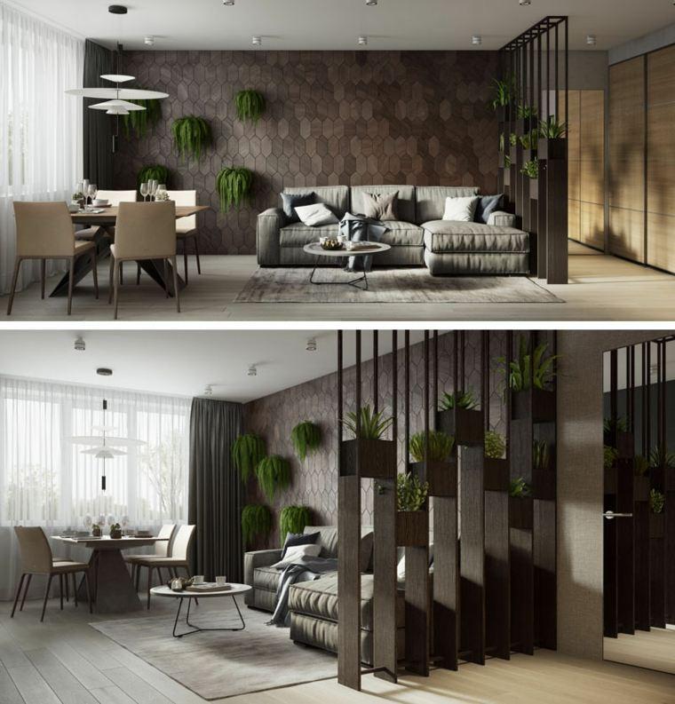 Diseño de sala de estar con pared de acento decorada con plantas