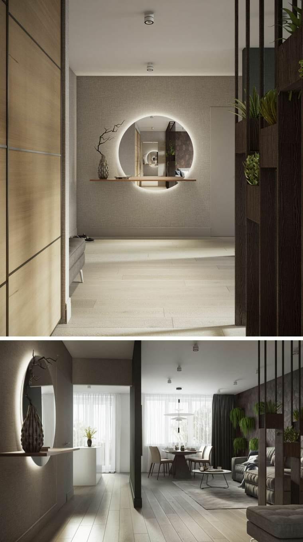 Diseño de pasillo con espejo retroiluminado