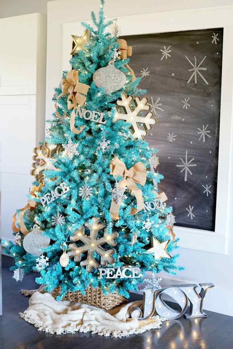 árboles de navidad decorados color-turquesa