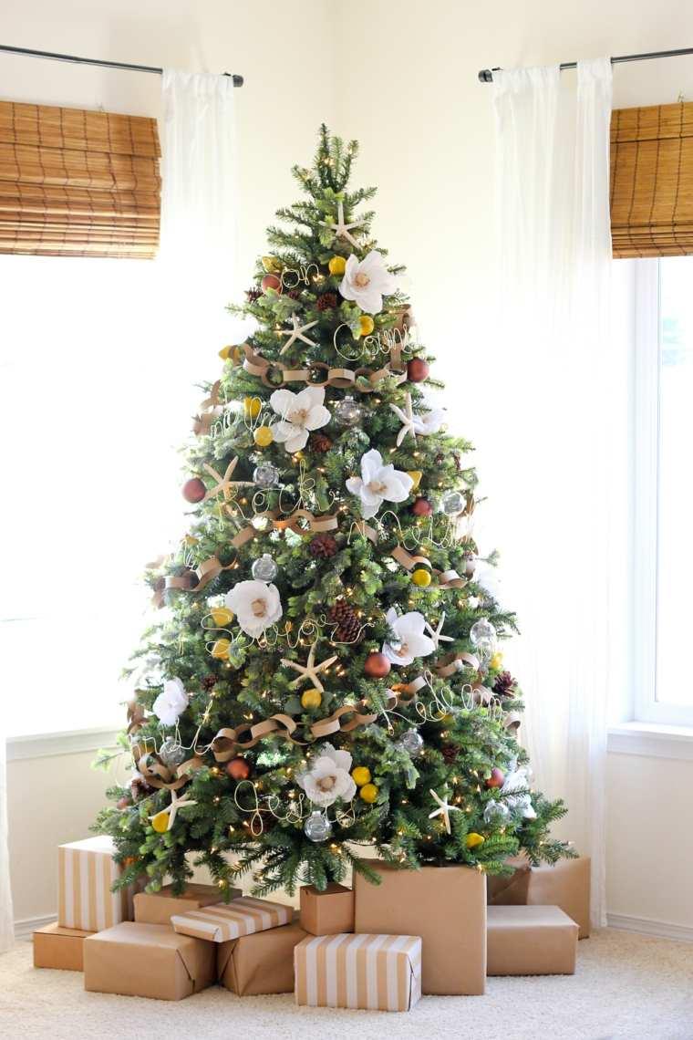 árboles de navidad decorados flores