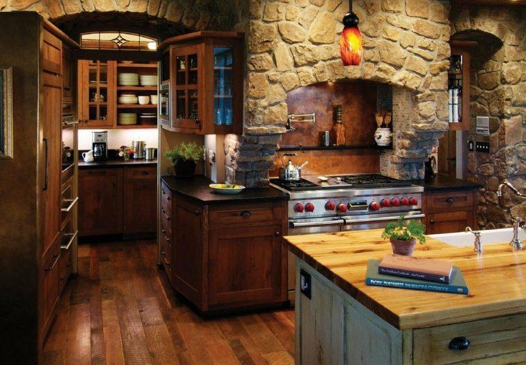 Cocina rustica con acento moderno