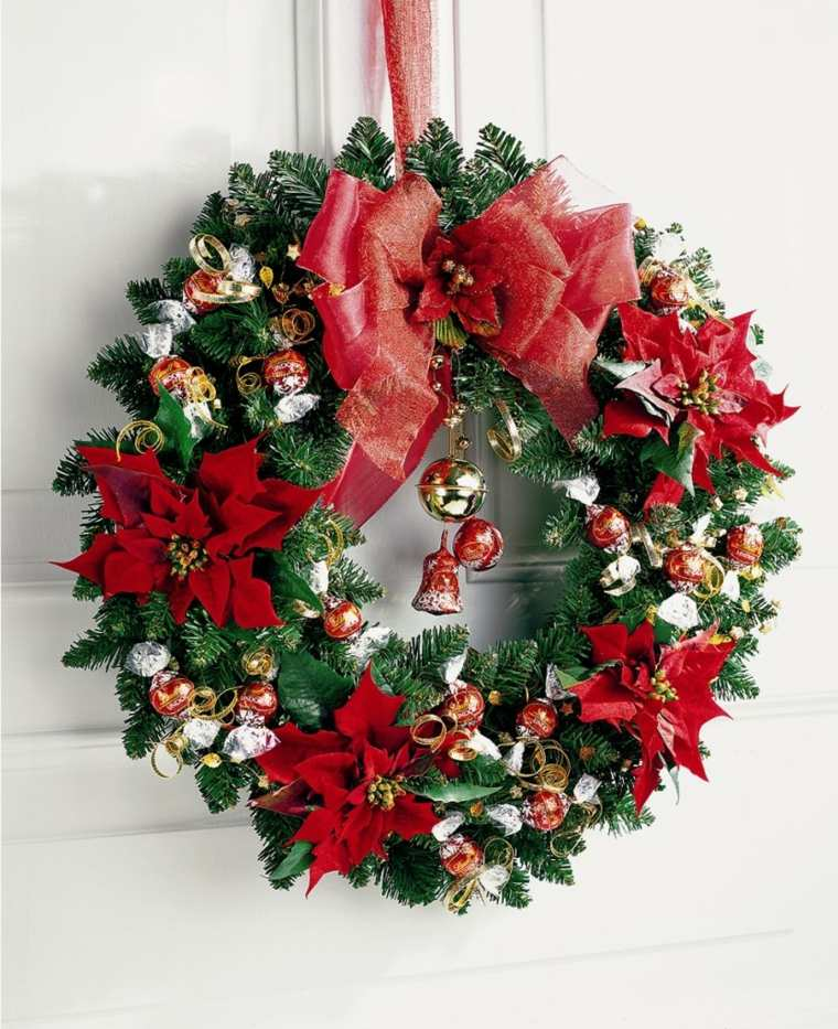 coronas-de-navidad-campanas-lazos-rojos
