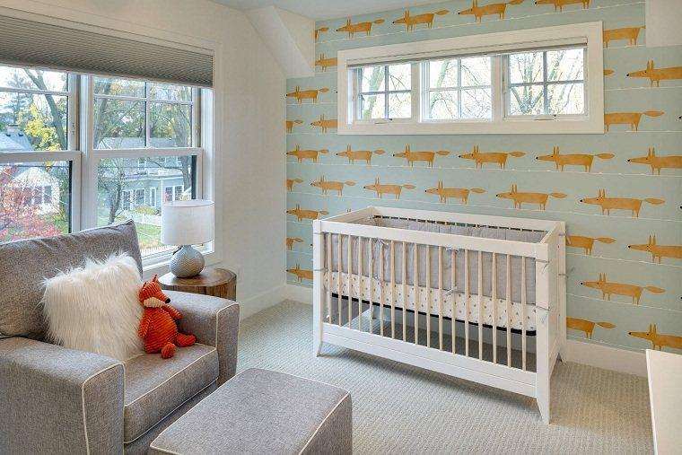 decorar-habitacion-bebe-papel-pared-zorro