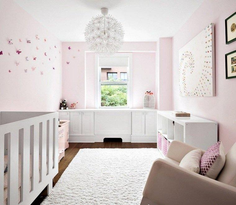 decorar-habitacion-bebe-paredes-color-rosa-muebles-blancos