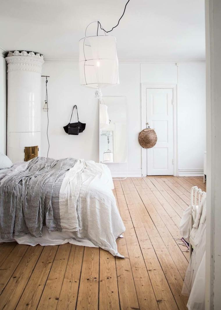 diseño dormitorios blancos-decoracion-original-suelo-madera