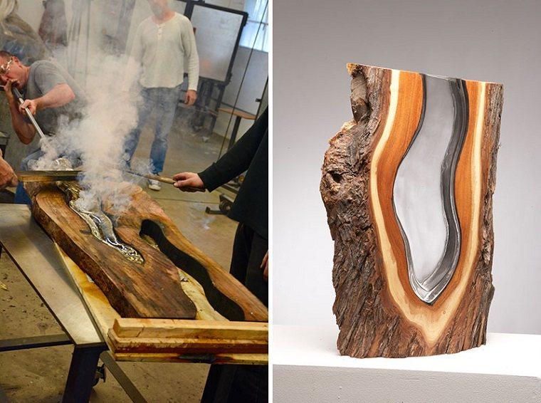 esculturas de madera-vidrio-fundido-contemporaneo
