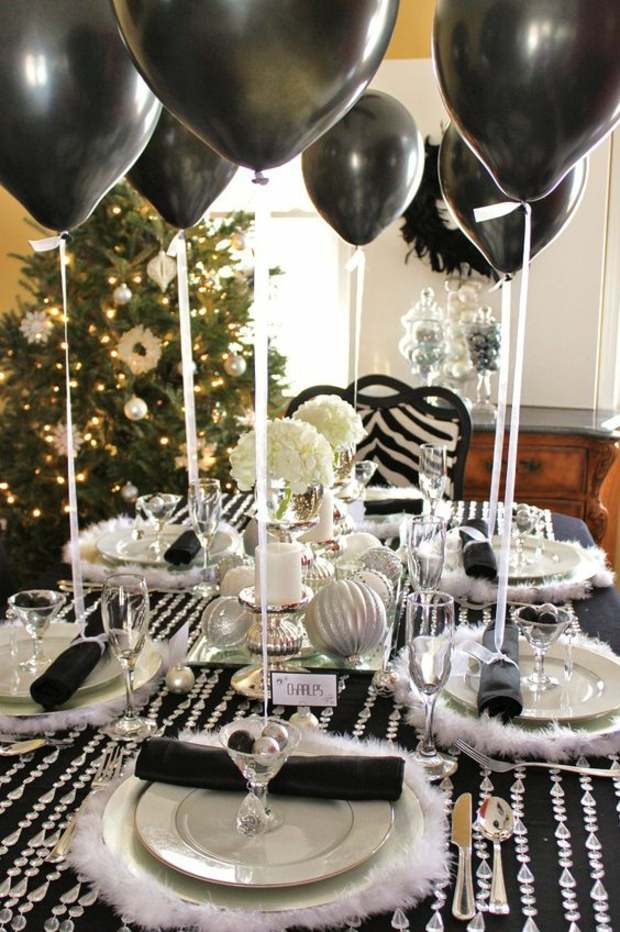 globos negros fiesta navideña