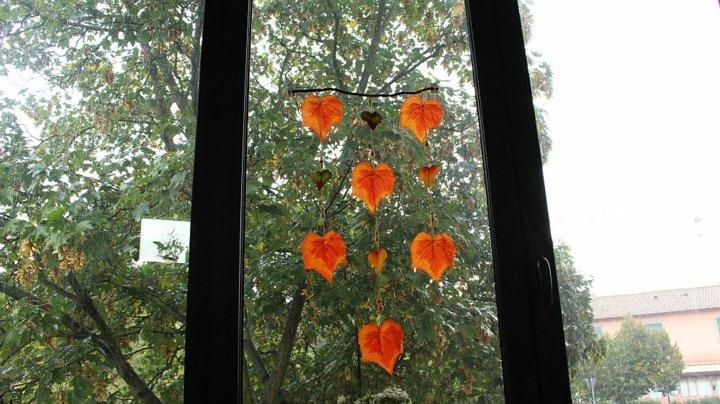 hojas atadas cordones decorativos
