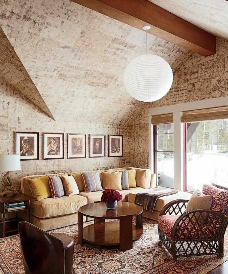 bonito salón de estilo rústico