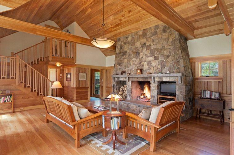 salones y salas de estar estilo rústico