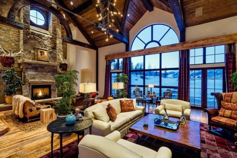 decoración de salas de estar de estilo rústico