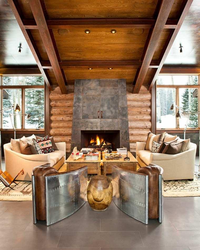 diseño de salas de estar de estilo rústico