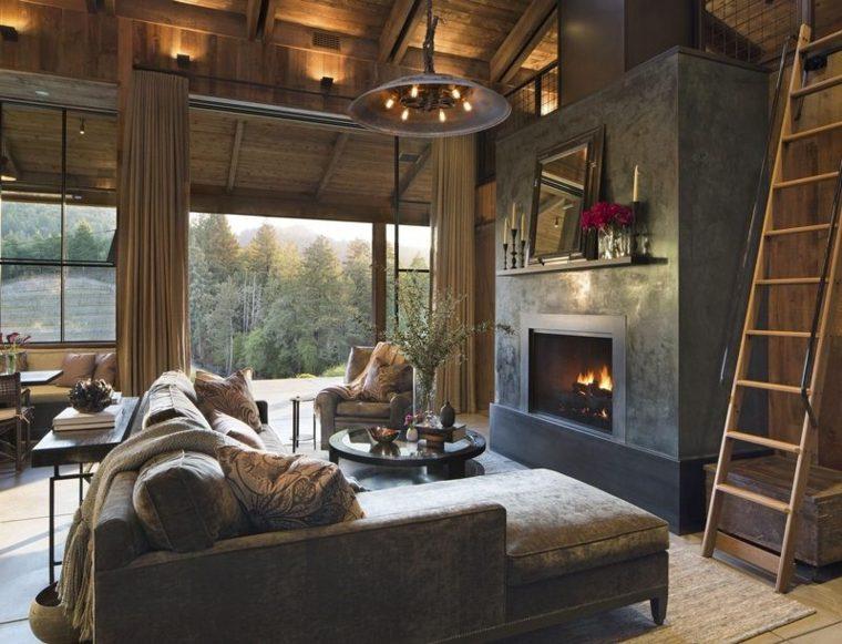 decoración de salón de estilo rústico con chimenea