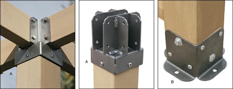 diferentes soportes para pérgolas