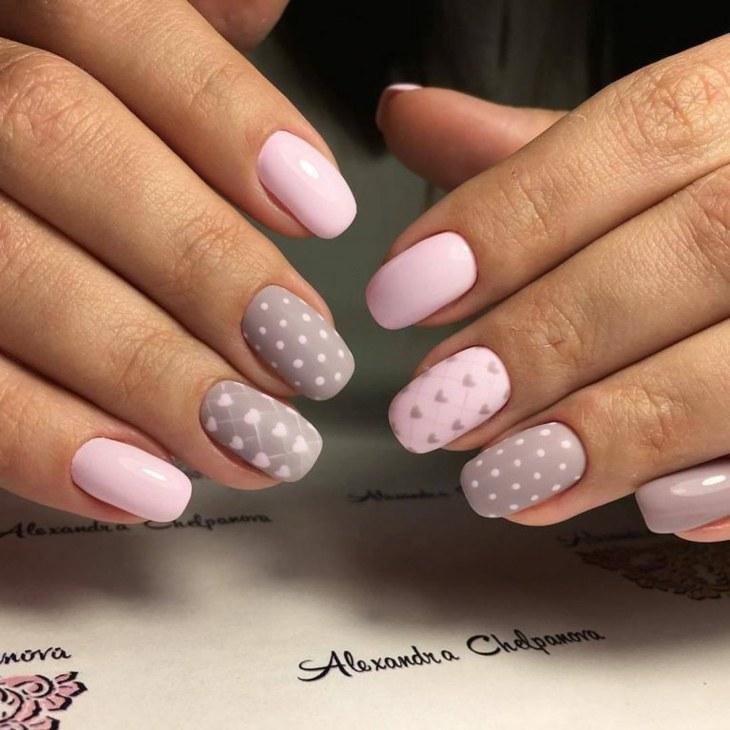 uas de gel puntos rosa - Imagenes Uas De Gel