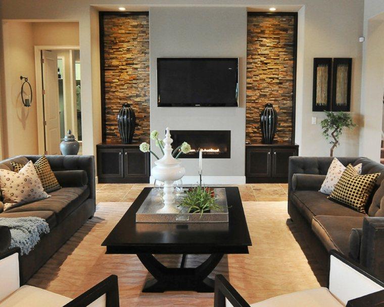 Paredes de piedra e ideas decorativas para interior con - Piedra decorativa para paredes ...