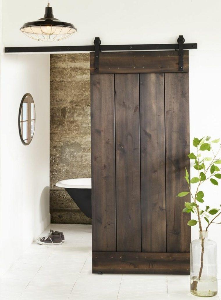 Puertas corredizas de estilo granero dise os originales para interior - Puertas correderas banos ...