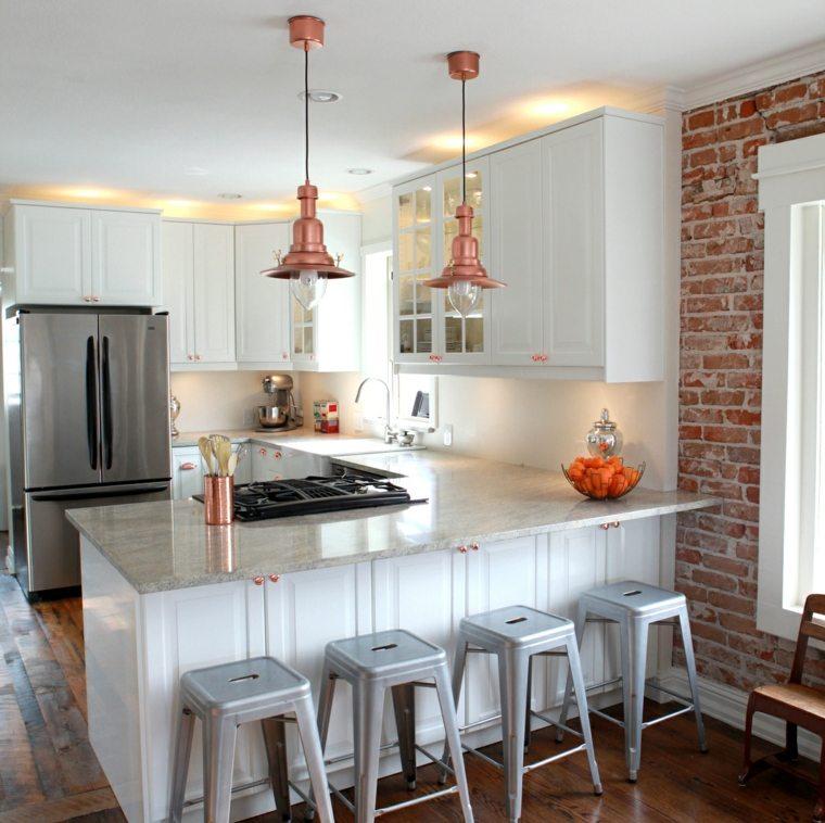 cocinas blancas diseño metales