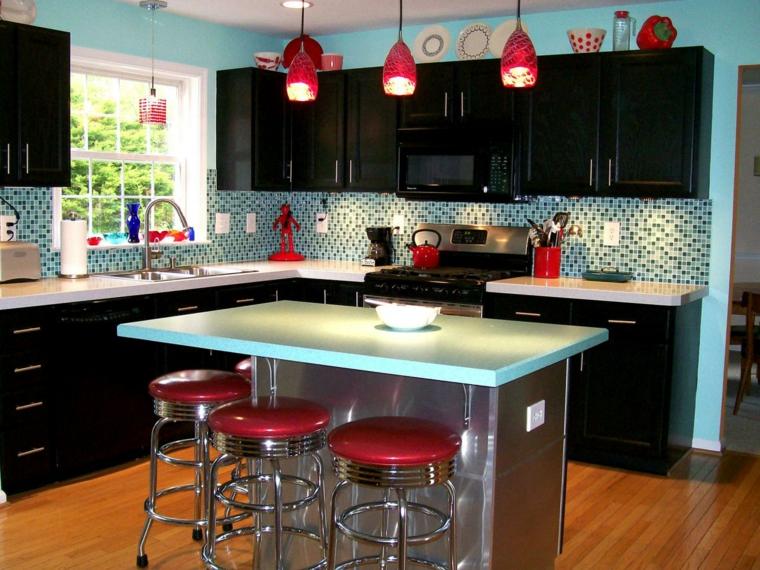 cocinas retro negro-y-rojo