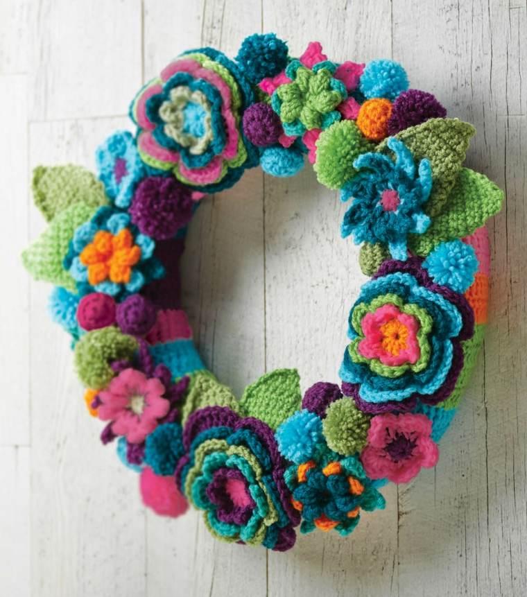 guirnalda de Flores de crochet bonitas