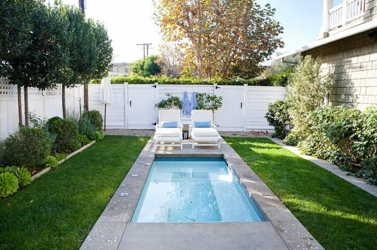 diseño de jardines pequeños con-piscina-cesped