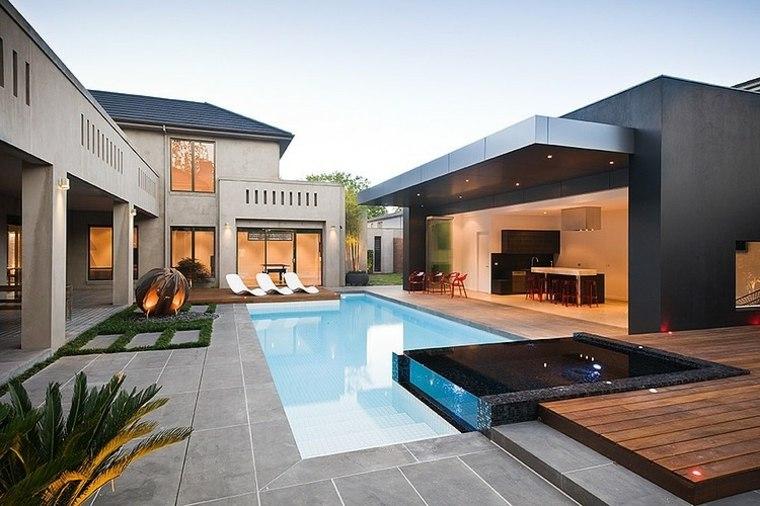 diseño de jardines pequeños con piscina-ideas