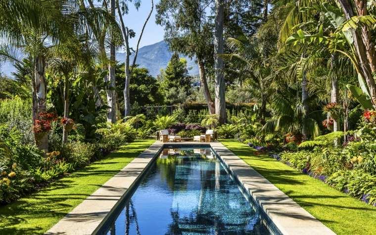 diseño de jardines pequeños con piscina naturaleza