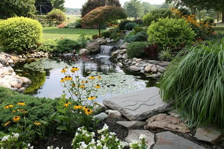 diseño de jardines rústicos estanque