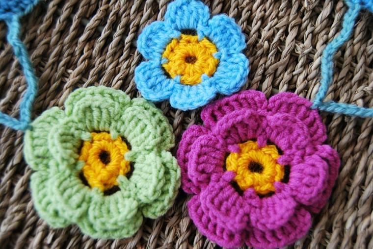 conjunto de Flores de crochet bonitas
