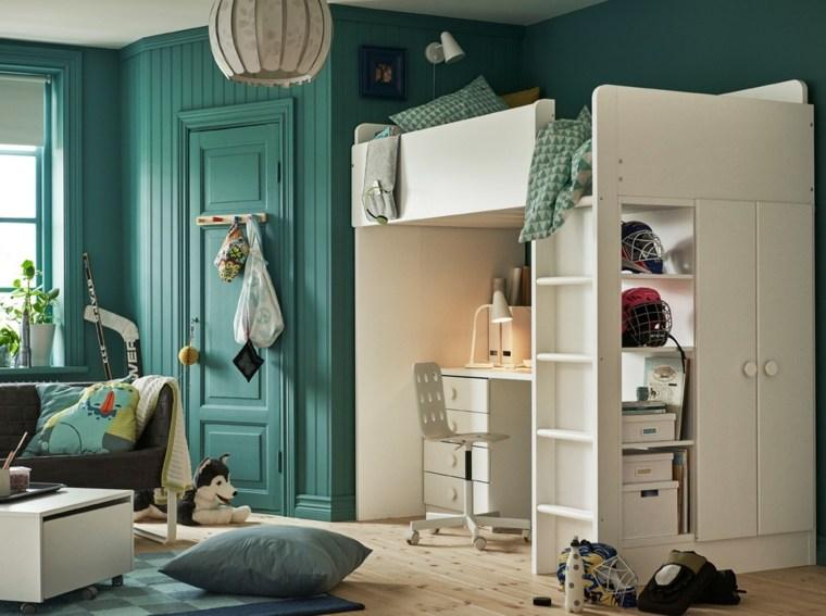 dormitorios-infantiles-diseno-opciones-combinacion-verde-blanco