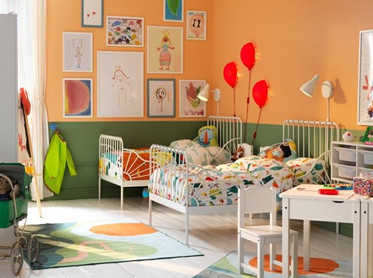dormitorios-infantiles-diseno-opciones-combinacion-verde-naranja