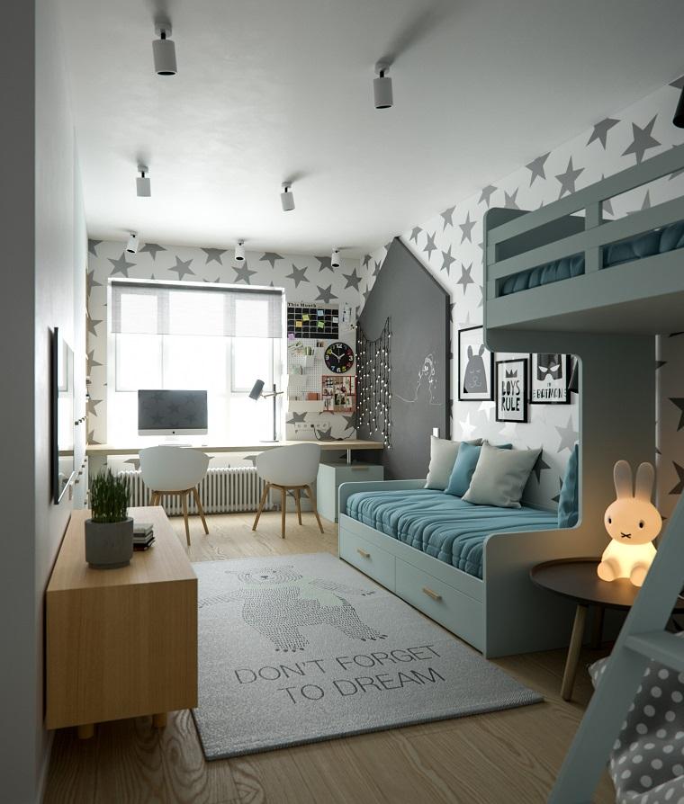 dormitorios-infantiles-diseno-opciones-papel-pared
