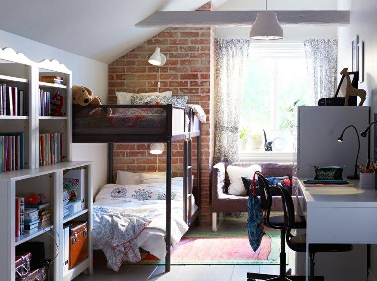 dormitorios-infantiles-diseno-opciones-pared-ladrillo