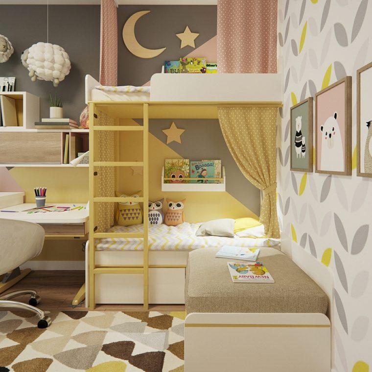 dormitorios infantiles-literas-color-amarillo