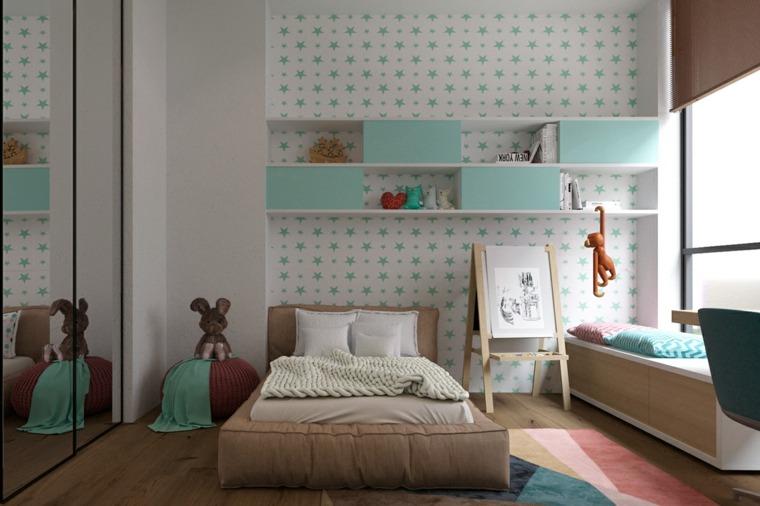 dormitorios infantiles-mueble-pared-papel
