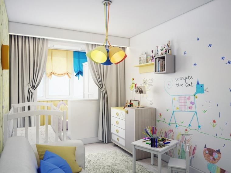 dormitorios infantiles-pared-pintada-muebles-estilo