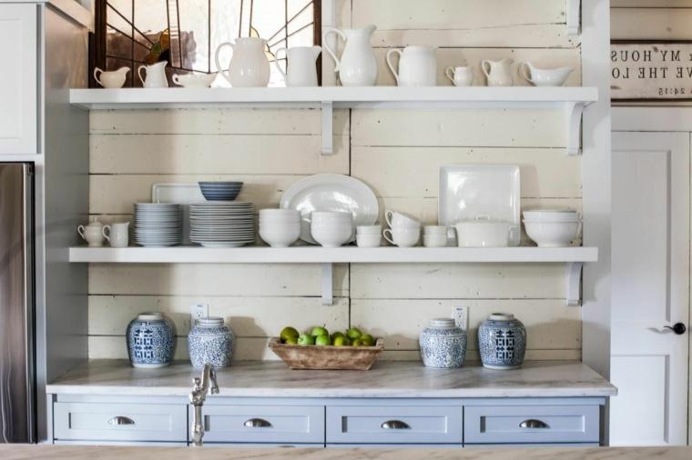 estanterías de-madera-blancas