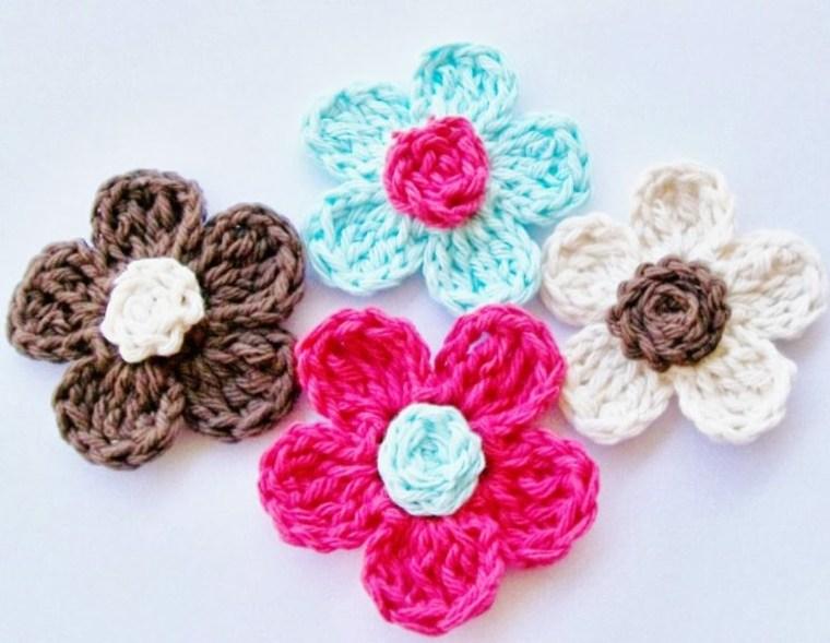 Flores de ganchillo sencillas