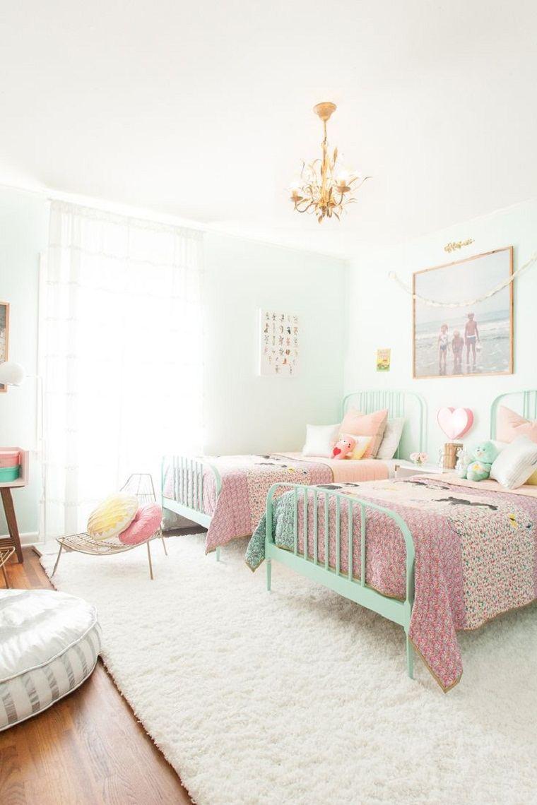 diseño de habitación infantil con dos camas