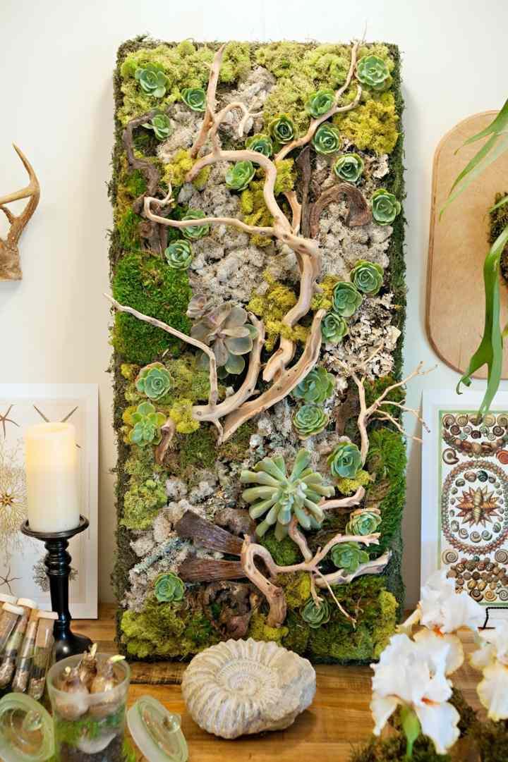 jardines verticales estilo suculentas madera